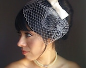 Bridal bow hair pin clip fascinator and detachable Ivory French Russian netting birdcage veil set mod bride - MIA