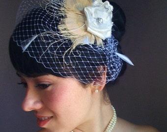 Bridal veil, Ivory peacock veil, birdcage veil set, bridal veil set, wedding veil set, bridal veil clip, bridal feather veil,