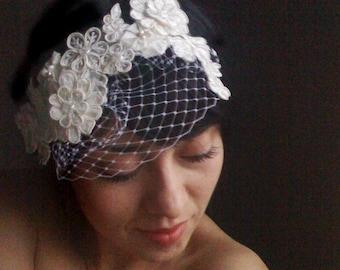 lace birdcage veil, Bridal head band, bridal lace headband, mini birdcage veil, bridal veil, bridal headband, detachable veil, mini veil,