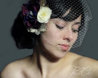Bridal veil, grape birdcage veil, birdcage veil set, purple fascinator, bridal hair clip, flower fascinator, purple veil,