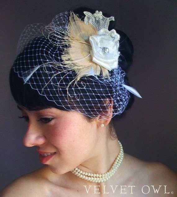 Bridal peacock hair pin clip or comb feather fascinator and detachable French netting birdcage veil - LIANNA