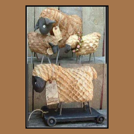 Primitive pull toy sheep instant dowload pattern HAFAIR OFG standing sheep