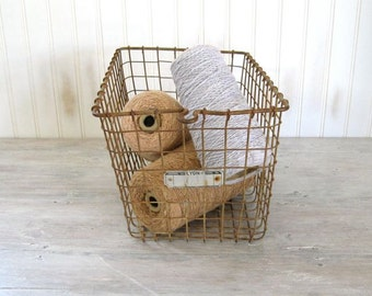 Vintage Locker Basket | Wire Storage Bin | Rustic Organizer | Kids School Gym Container | Lyon Number 61