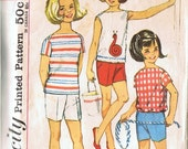 VINTAGE Girls Size 14 Top and Jamiaca Short Set NO 5010 Simplicity Pattern Co.