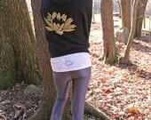 lotus hoodie, yoga sweatshirt, yoga hoodie, gold and black, yoga clothes, spiritual sweatshirt, pretty hoodie, activewear hoodie, yoga top