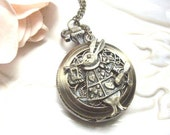 Rabbit and The Wonderland Pocket Watch Charm Necklace