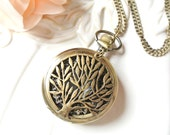 Tree Pocket Watch Necklace. tree of life. pocketwatch necklace
