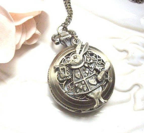 Rabbit Pocket Watch Necklace. Spring Fashion