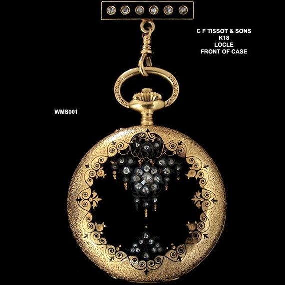 18K Antique Lady Pocket Watch Diamond Enamel Lady Lapel Watch Tissot