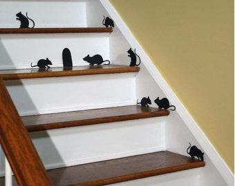 Halloween Decor Wall Decal Creepy Stair Mice with Mouse Hole Repositionable Vinyl Silhouettes non scary