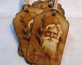 Vintage Inspired Christmas Hang Tag: Joyeux Noel Santa Gift Tag