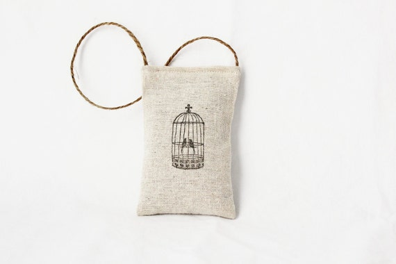 French Lavender Sachet, French Country Bird Cage Decor, Rustic Chic Door Hanger