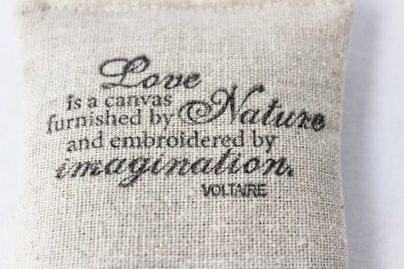 Voltaire Quote Lavender Sachet - Industrial Farmhouse Decoration - Handmade Home Decor
