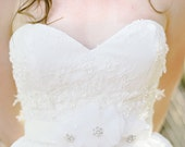 "Wedding Belt with Swarovski Crystals and silk flowers ""Audrey"""