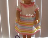 Knit pattern doll clothes fits 18 inch American Girl Doll Spring Dress Set hat and purse pdf instant download