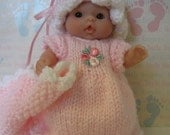 Knit Pattern Nightgown, Bloomers, Mop Cap & Blanket for 5 inch Berenguer Itty Bitty Baby Doll instant pattern download now available
