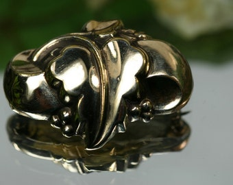Brooch- Victorian 10k Gold filled Leaf Brooch