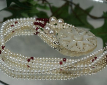 Freshwater Pearl Ruby and Shell Beaded Necklace- Wedding