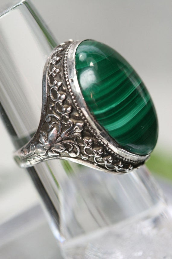 RESERVED for Kate. - Vintage Sterling and Malachite Ring