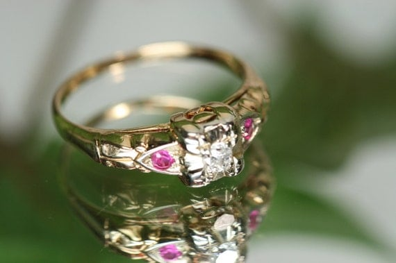 Ring- Vintage 14k Yellow Gold Diamond and Pink Spinel Ring- Wedding Ring