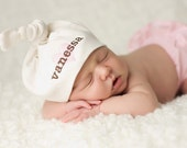 Personalized Organic Natural Cotton Baby Knot Hat - American Apparel with Embroidered Heart