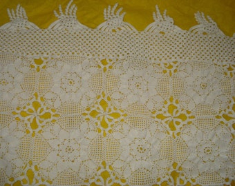 Handmade Crochet tablecloth -Doily Runner, Crochet Tablecloth LONG Rectangle, White Crochet Lace Bedroom Curtain, Unique Crochet Item