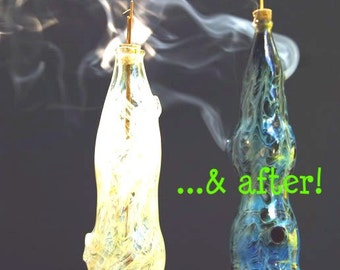 "Hand Blown Glass Incense Burner Color Changing Smoking Bottle: ""Bubbles"" design"