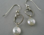 White Coin Pearls Dangle Earrings Oxidized Sterling Silver