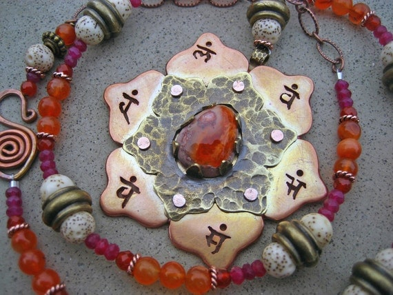 Sacral Chakra Necklace Fire Opal Carnelian Garnets Lotus Flower Seed Beads Spiritual Passion Symbol Chakra Jewelry