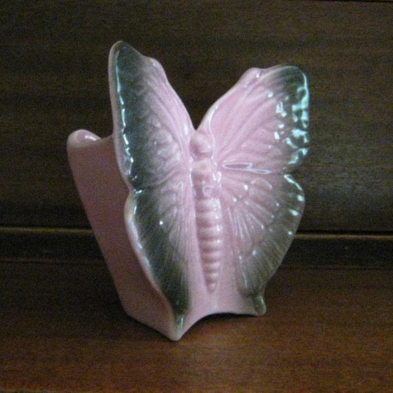 Vintage Butterfly Wall Pocket - Ceramic Planter - Pink & Grey