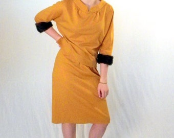 Yellow Jersey Skirt and Top Mink Trim 1960s