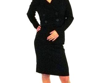 1960s Black Career Dress Small
