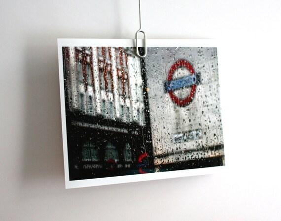 London art print photograph underground tube station travel 10 x 8 colour print city rain England UK Britain Typescale home decor