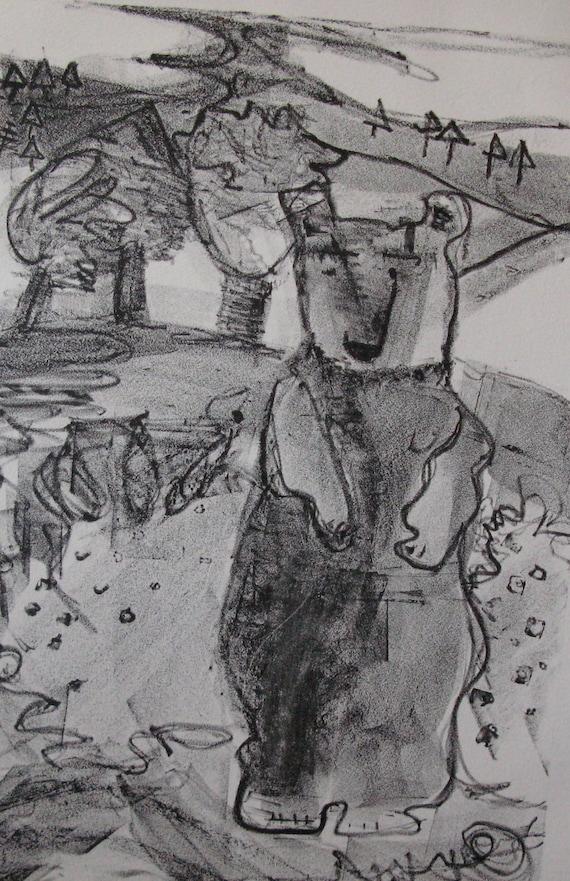 Lithograph Printmaking The Bear