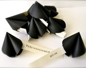 Reserved listing - Paper coal cookie, misfortune cookie, unfortunate, black, funny, nerdy.  Black wedding favor/decor