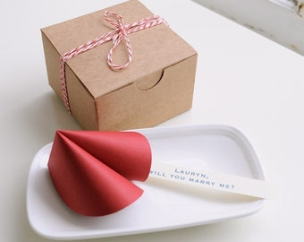 Red paper fortune cookie.  Wedding, bridal shower, party favor. Love. Proposal.  (1 cookie)