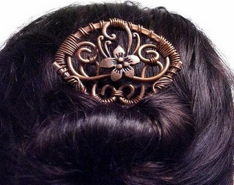 Sakura Hair Fork, Asian hair pin, metal hair fork, hammered copper, geisha, hair accessories, hair comb, Oriental, hair stick, long hair