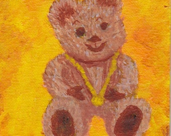 Teddy Bear Painting 4x6 Baby or Child Room Decoration Gold Medal cute Mini Art SFA