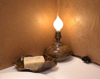 Gypsy Lantern and Soap Dish Set in Deep Olive Speckle