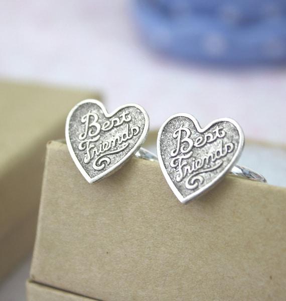 Best Friends Ring Set / Silver Heart Friendship Rings