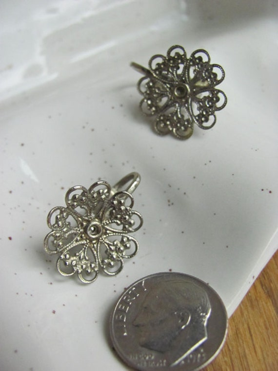 Vintage Filigree Clip On Earrings