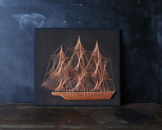 Nautical Ship Copper Wire Folk Art 1960s on Black Felt from Nowvintage on Etsy
