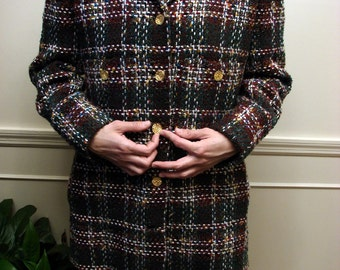 Vintage 1980's Car Length Plaid Jacket By Doncaster Custom  FREE U.S. SHIPPING