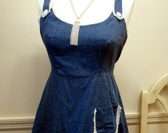 Vintage 1970's Denim Blue Sun Dress with Lace Trim Size 7