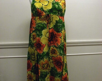 Vintage 60s Mod Maxi Dress by Sirena California Made in USA Yellow and Orange Flowers
