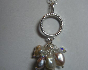 Keshi Pearl and Swarovski Crystal Cluster Pendant with Sterling Silver Chain
