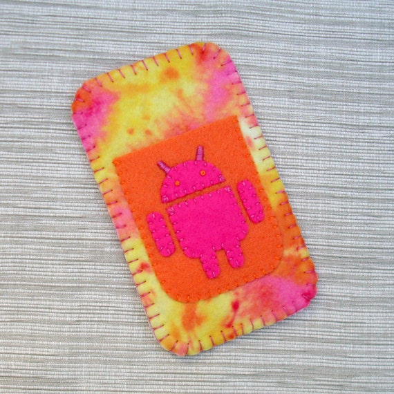 Android Phone Case in Pink and Orange Tie Dye Felt READY TO SEND