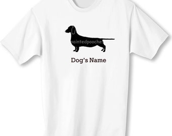 Dachshund Doxie Dachsie Smooth Dog Personalized T-Shirt with Dog's Name