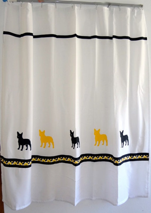 items similar to french bulldog frenchie black and yellow shower curtain choice of other. Black Bedroom Furniture Sets. Home Design Ideas