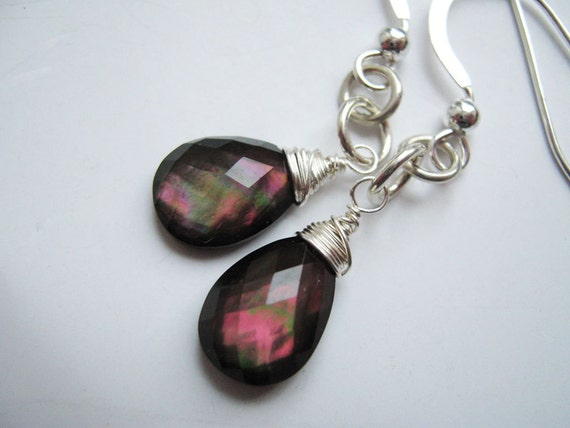 Pink Topaz and Black Mother of Pearl Sterling Silver Earrings